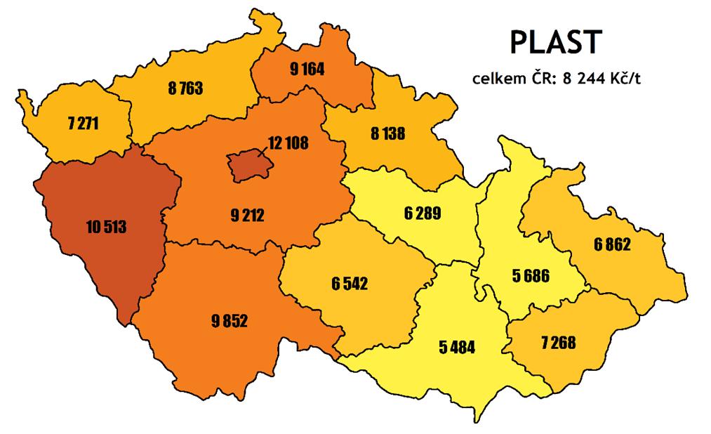 náklady nasběr asvoz plastu vKč/t vroce 2020 podle krajů