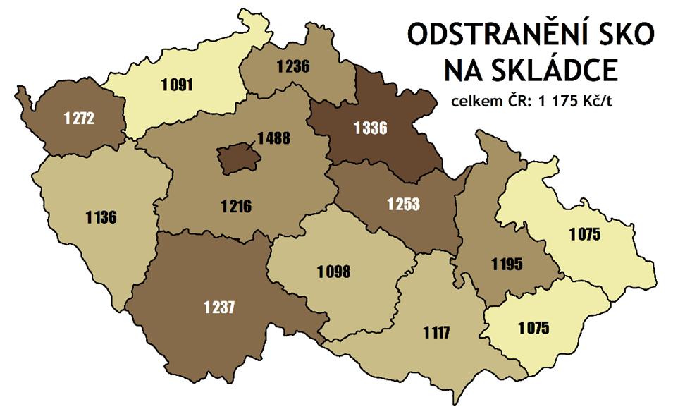 náklady naodstranění SKO naskládce vKč/t vroce 2020 podle krajů