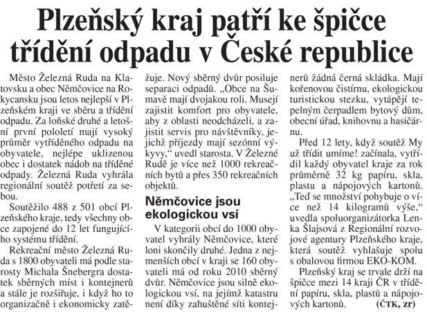 72c8dadbe7c2 Plzeňský kraj patří ke špičce třídění odpadu v České republice